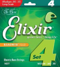 ELIXIR 14077 NANOWEB BASSO 4 CORDE 045-105