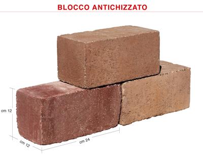 BLOCCO 1212 ANTICHIZZATO FACCIAVISTA IDROREPELLENTE cm.12x12x25