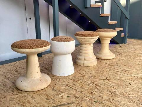Sgabello in legno e sughero gagliano legnami bagheria palermo