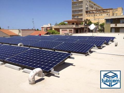 Plinto per fotovoltaico Sistema di zavorramento Cordoli+Mattoni