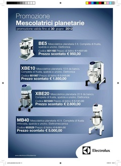 Mescolatrici Planetarie  electrolux Electrolux Promozione Mescolatrici