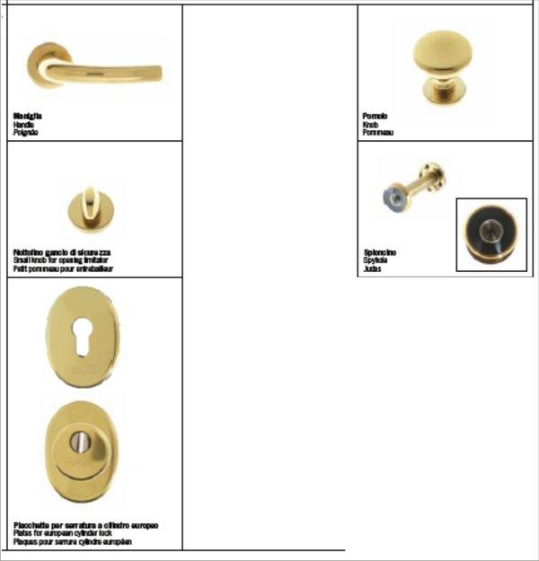 Kit maniglieria e accessori per porte blindo europa o top for Ermetika porte blindate
