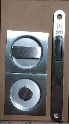 Kit TQN.8 serratura per porta scorrevole mod. EASY quadrato con nottolino Cromo satinato BONAITI TQN.8 Cromo satinato