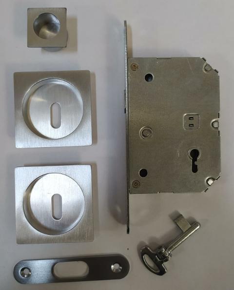 Serratura per porta scorrevole kit quadro con chiave a snodo cromo satinato Forme KQ05 Cromo Satinato