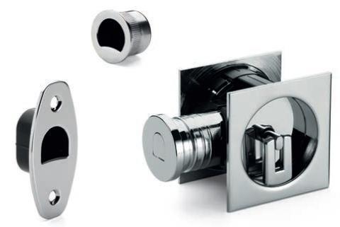 Serratura Tubolare con manigliette quadrate con chiave per porte scorrevoli  SAB SERRATURE 2801 T25 OCL