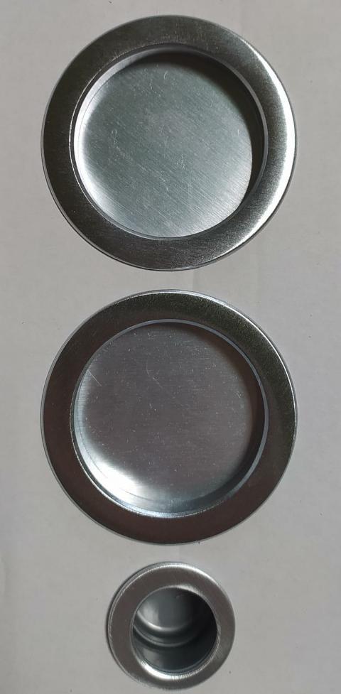 Coppia manigliette cieche per porta scorrevole D48 Cromo satinato Forme KT01 Cromo satinato
