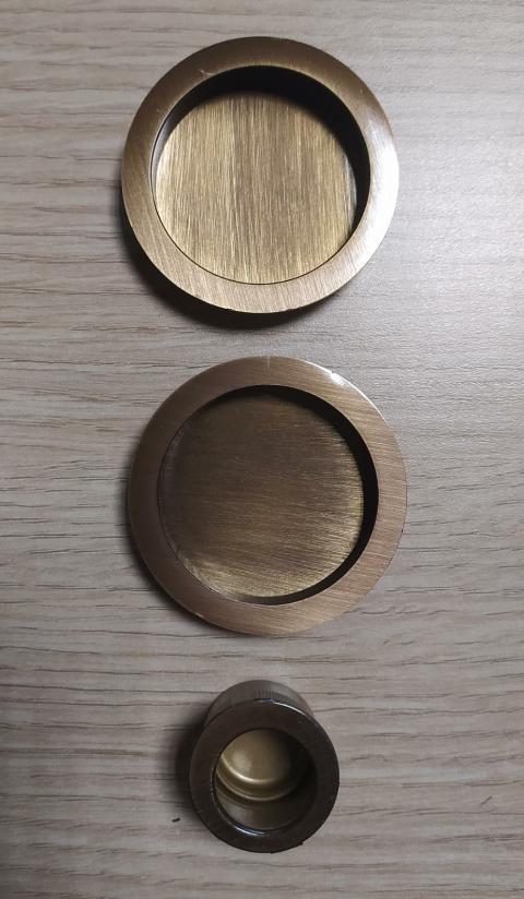 Coppia manigliette cieche per porta scorrevole D48 Bronzo graffiato lucido Forme KT01 Bronzo graffiato lucido