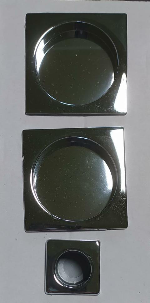 Coppia manigliette cieche Quadrate D48 per porta scorrevole finitura Cromo lucido Forme KQ01 Cromo lucido