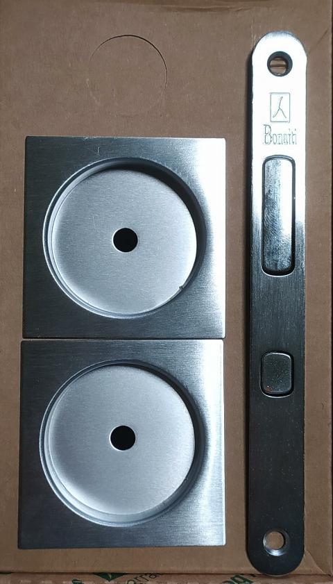 Kit TQC.8 serratura per porta scorrevole mod. EASY quadrato con chiave a snodo Cromo satinato BONAITI TQC.8 Cromo satinato