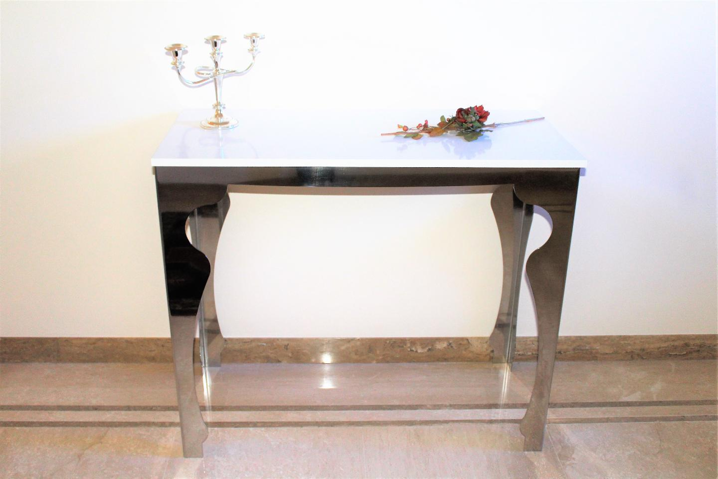 Tavolo consolle in acciaio inox table structure in stainless steel