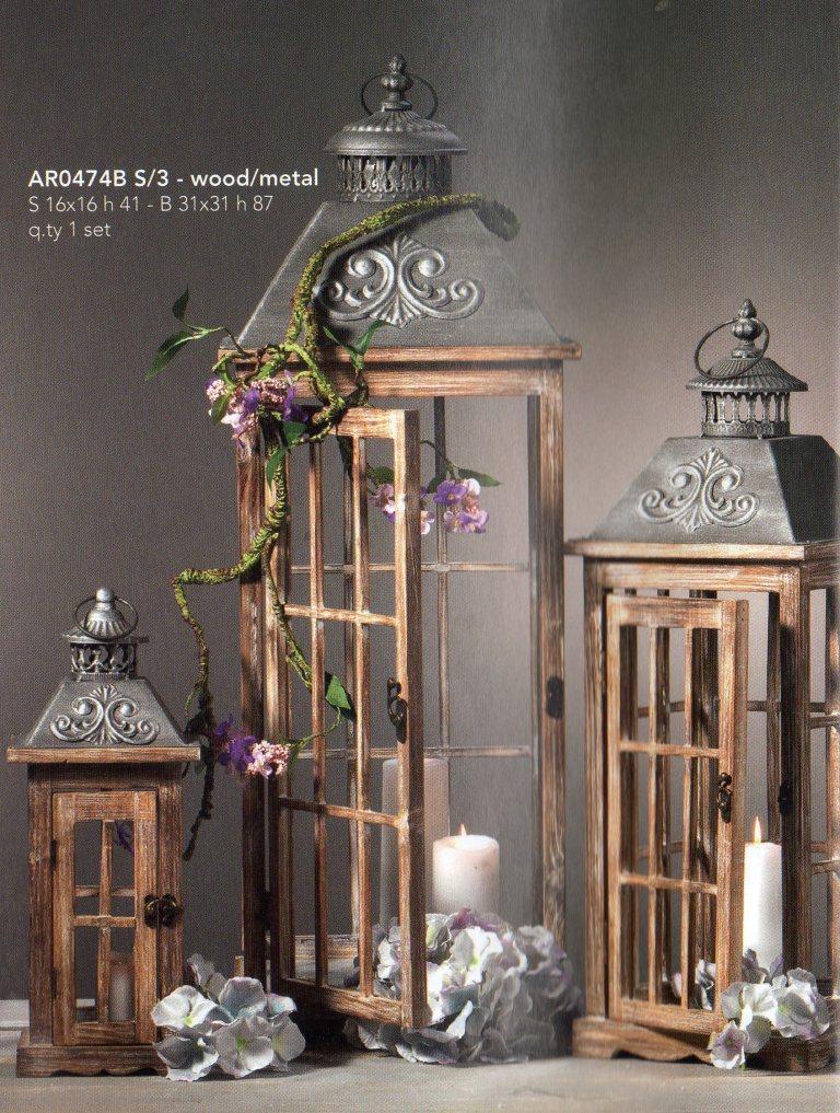 Lanterne x 3 grandi con fregio da h 87 a h 41 in legno e for Lanterne in legno