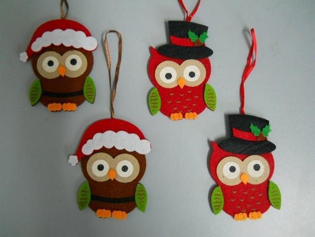 Gufi in feltro san michele di ganzaria ct guida sicilia - Decorazioni natalizie in feltro ...