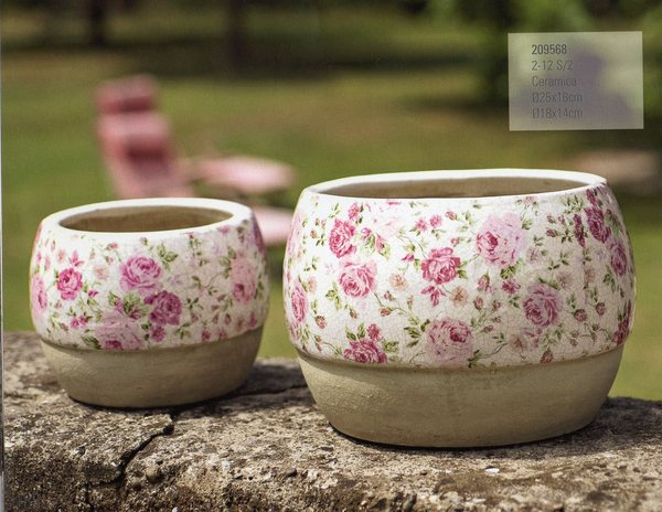 Porta piante x 2 tondi  in ceramica - Linea Romantic Rose