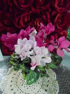 Ciclamino Mni bush x 7 artificiale in poliestere per fioristi e wedding
