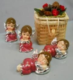 Angioletti Argento 3 modelli  con cestino regalo - Sconti per Fioristi e Aziende