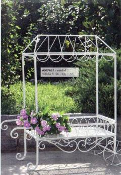 Carrello da giardino H 103 L 93x44 in ferro bianco