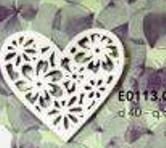 Cuore legno bianco decorato Dm. 40 e Dm. 50 Articolo per San Valentino - Sconti per Fioristi e Aziende