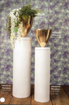 Vaso Ogiva Bianco/Oro  H 51 e H 40 per fioristi e wedding