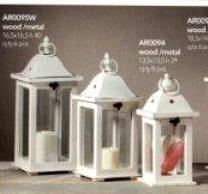 Lanterna con foro  H 29 base 13,5x13,5 in legno e metallo