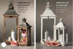 Lanterne x 2 H 67e 41 in legno e metallo in 2 colori