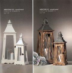 Lanterne x 2 H 47 e 52 in legno e metallo in 2 colori