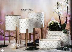 Ovaline e Alzate in metallo bianco decoro oro