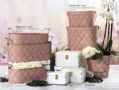 Cestelli - Ovaline - Beauty case in metallo rosa cipria decoro oro