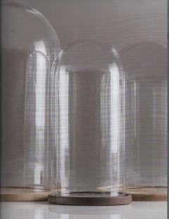 Campane in vetro  H 14 e H 22 c/s base legno