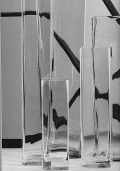 Vasi Vetro Rettangolare  con base cm 10 x 10 -  Sconti per Fioristi e aziende diverse