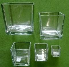 Cubo vetro trasparente cm. 6/8/10/12 per Fioristi e Wedding