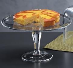 Alzata in vetro per torta dm. 32 H 10 con piatto liscio