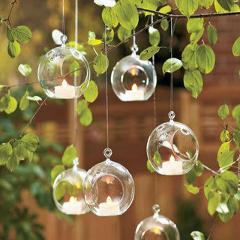 Sfera in vetro con foro da appendere Dm. 8 H 9,5 per fioristi, wedding e Arredatori