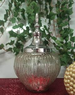 Confettiera in vetro H 31 dm.19 con cupola argento - Sconti per Fioristi e Aziende