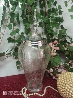Confettira in vetro H 41 dm.16 con cupola argento - Sconti per Fioristi e Aziende