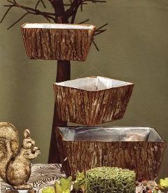 Vaschette  x 3 in corteccia da 30x20 H 14 a 25x13 H 11 - Sconti per Fioristi e Aziende