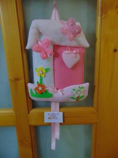 Fiocco nascita casetta rosa in feltro