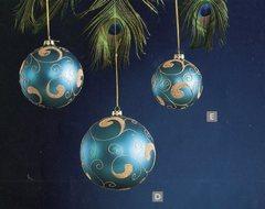 Palline Tonde x 4 in Vetro decorate oro  2 colori