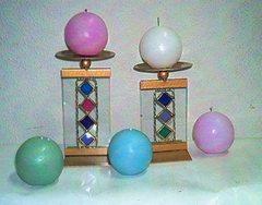 Alzata portacandela con candela  in 2 misure  - Sconti per Fioristi e Aziende