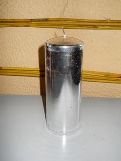 Candela Moccolo  Argento lucido  H 15 dm. 6