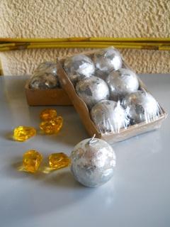 Candeline sferiche  dm. 3,5  argentate