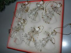 Angeli  in vetro x 6 con filo oro - Sconti per Fioristi e Aziende