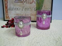 Porta candela in vetro ametista con gemma in 2 misure