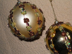 Palline di Natale dm. 80 Meridian Oro decorate - Sconti per Fioristi e Aziende
