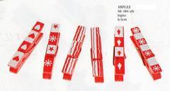 Mollette in legno x 8 natalizie  stampate