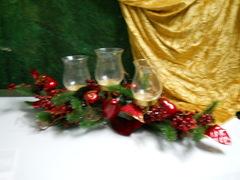 Centrotavola Rosso con portacandela in vetro