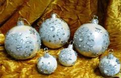 Palline di Natale x 6 con strass in Vetro iridato  - Sconti per Fioristi e Aziende