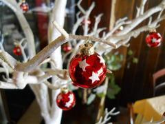 Palline di Natale x 20 dm. 3 in vetro Rosse decoro stelline - Sconti per Fioristi e Aziende