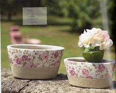 Porta piante ovale x 2 in ceramica Linea Romantic Rose - Sconti per Fioristi e Aziende