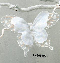 ESAURITA - Farfalla Bianca x 3  Floccate con clip in nylon cm. 25 x 20