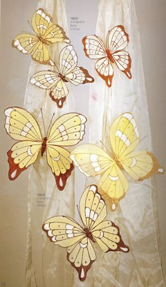 Farfalle Nylon x 6  grandi cm. 18 x 17  glitterate in 3 colori